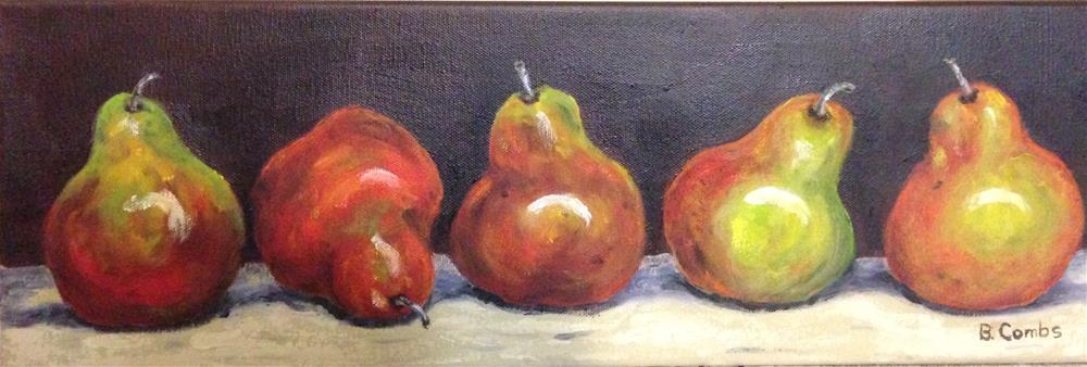 """Pears in a row"" original fine art by Bebe Combs"