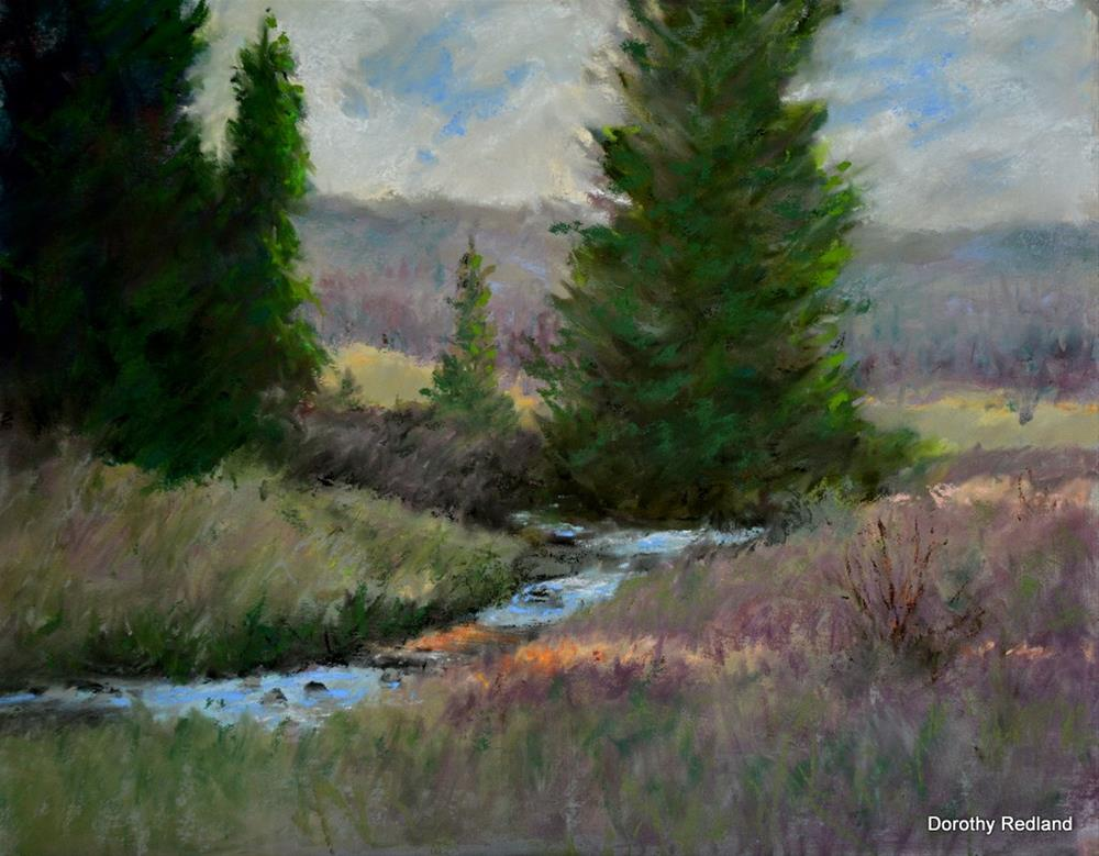 """Down along the creek"" original fine art by Dorothy Redland"