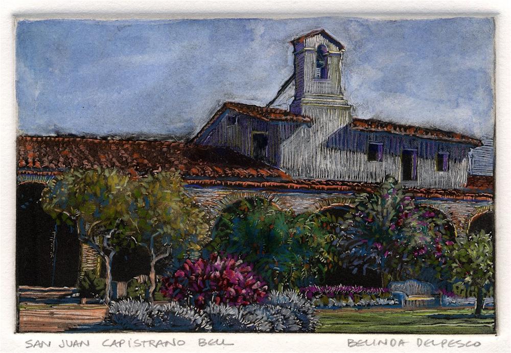 """Monotype: San Juan Capistrano Bell"" original fine art by Belinda Del Pesco"