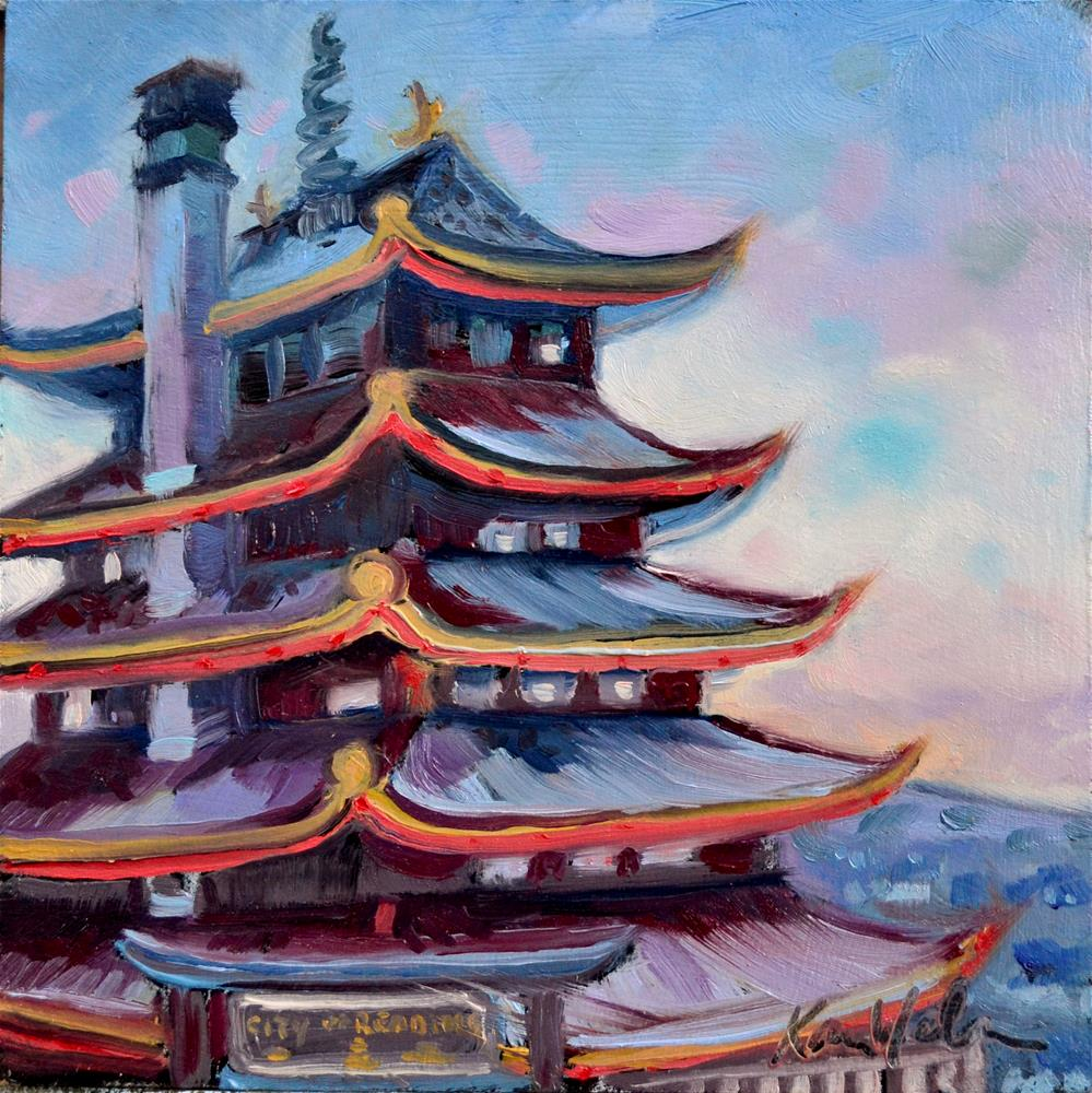 """Sunset Pagoda"" original fine art by Karen Weber"