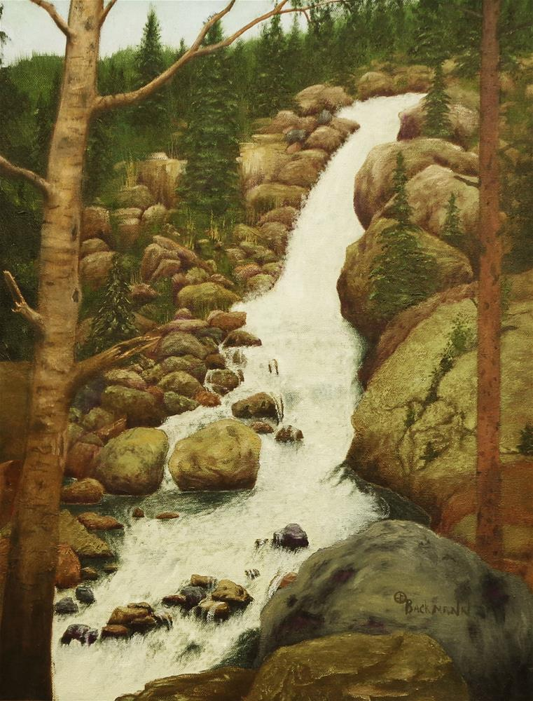 """Boulder Falls"" original fine art by Robert Backmann"