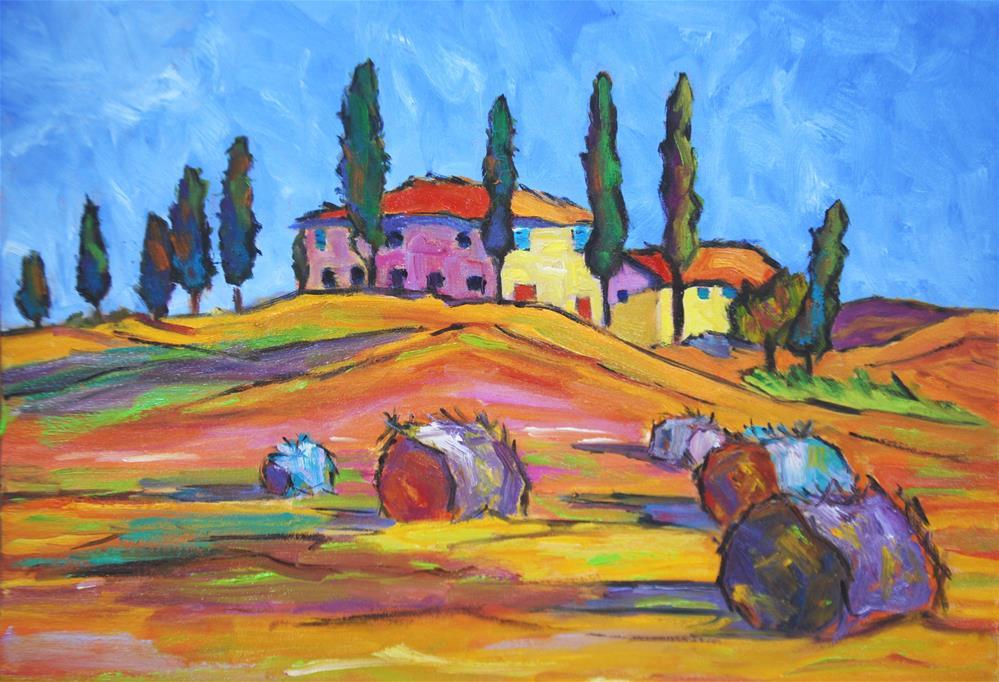 """""""Tuscan Hay Fields"""" original fine art by Liz Zornes"""