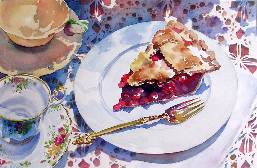 """Dad's Pie, Mom's Teacups"" original fine art by Debra Ames"