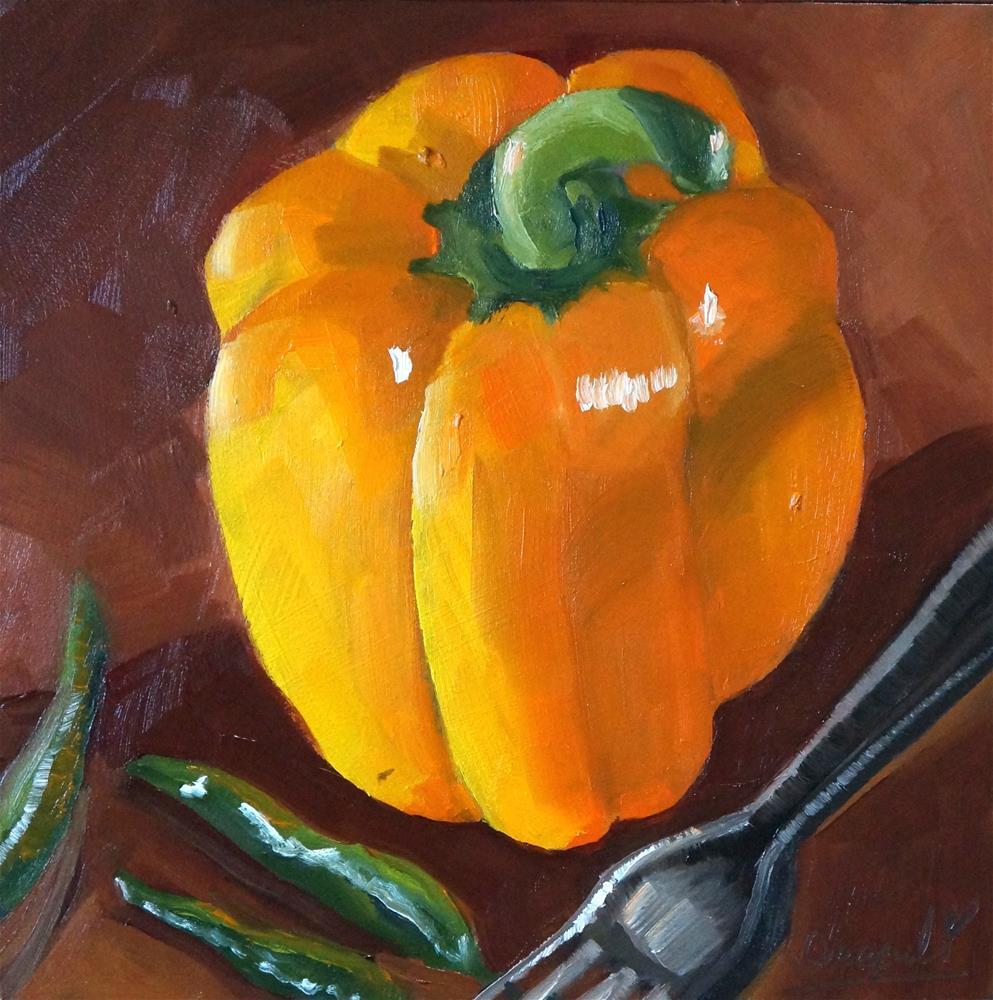 """Pepper with fork"" original fine art by Dipali Rabadiya"