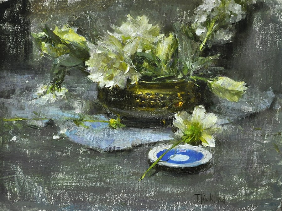 """white flowers"" original fine art by Taisia Kuklina"
