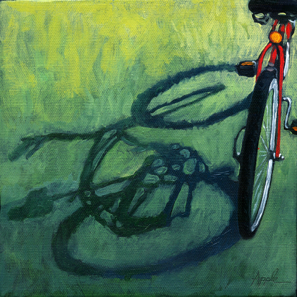 """At the Park - bicycle shadow oil painting"" original fine art by Linda Apple"