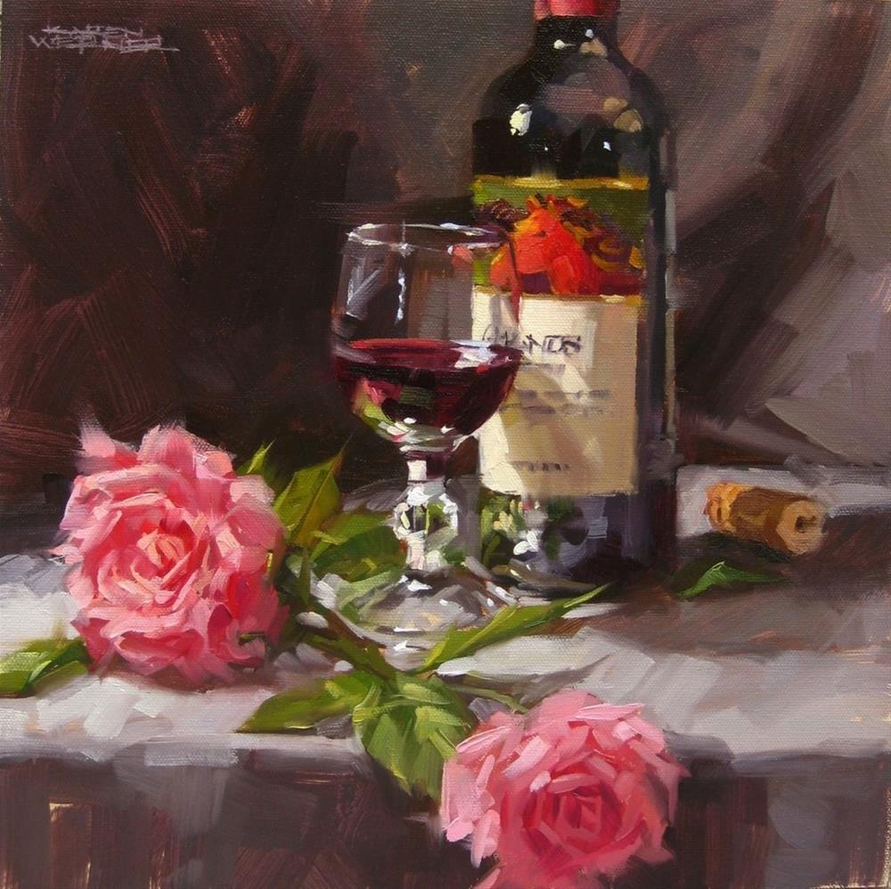"""Wine & Roses"" original fine art by Karen Werner"