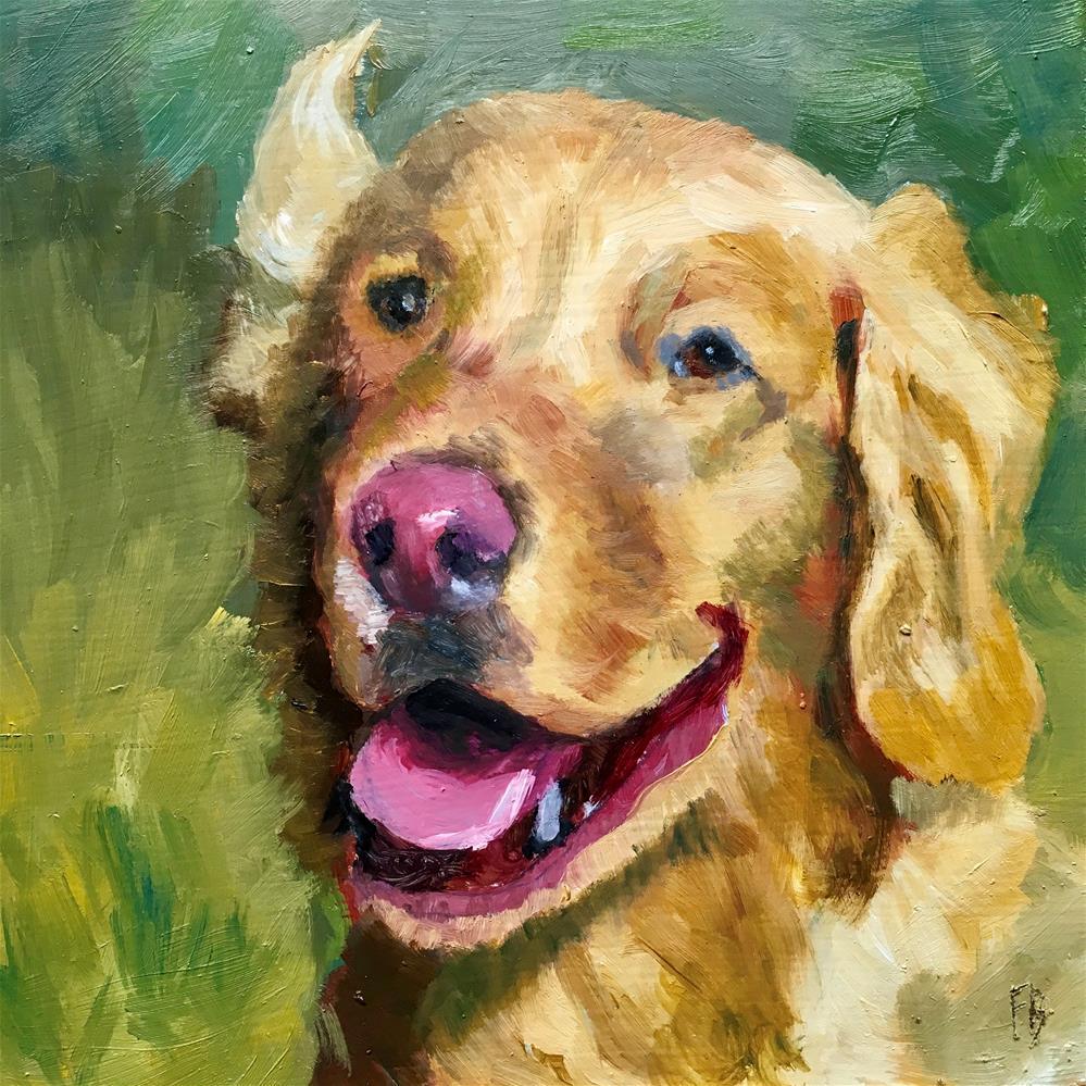 """Golden Retriever Portrait Painting"" original fine art by Fred Bell"