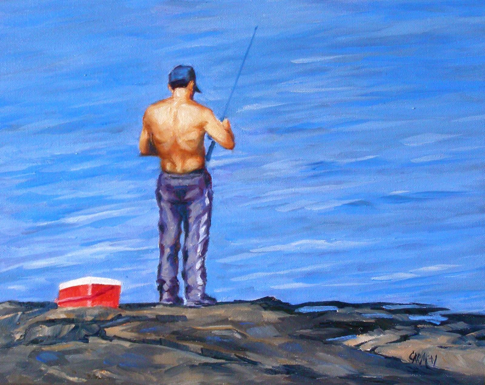 """""""Fisherlicious, 8x10 Oil on Canvas Board"""" original fine art by Carmen Beecher"""
