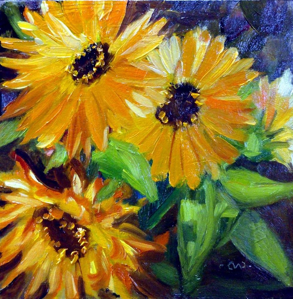 """Calendulas"" original fine art by Cietha Wilson"