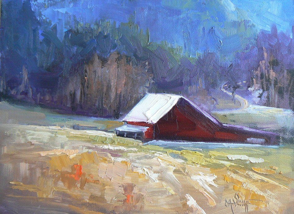 """Johnny's Barn, 6x8, original oil, canvas board"" original fine art by Carol Schiff"