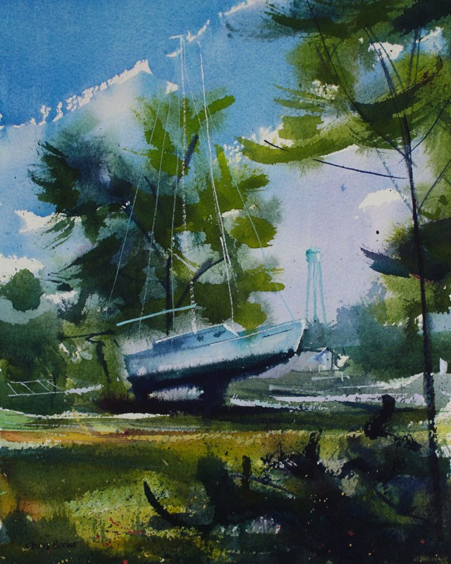 """Boatyard, Olcott NY"" original fine art by Chris  Breier"