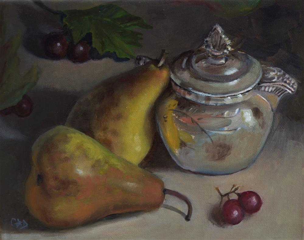 """Still Life w/ Leaning Pear"" original fine art by Christine Angelotta Dixon"