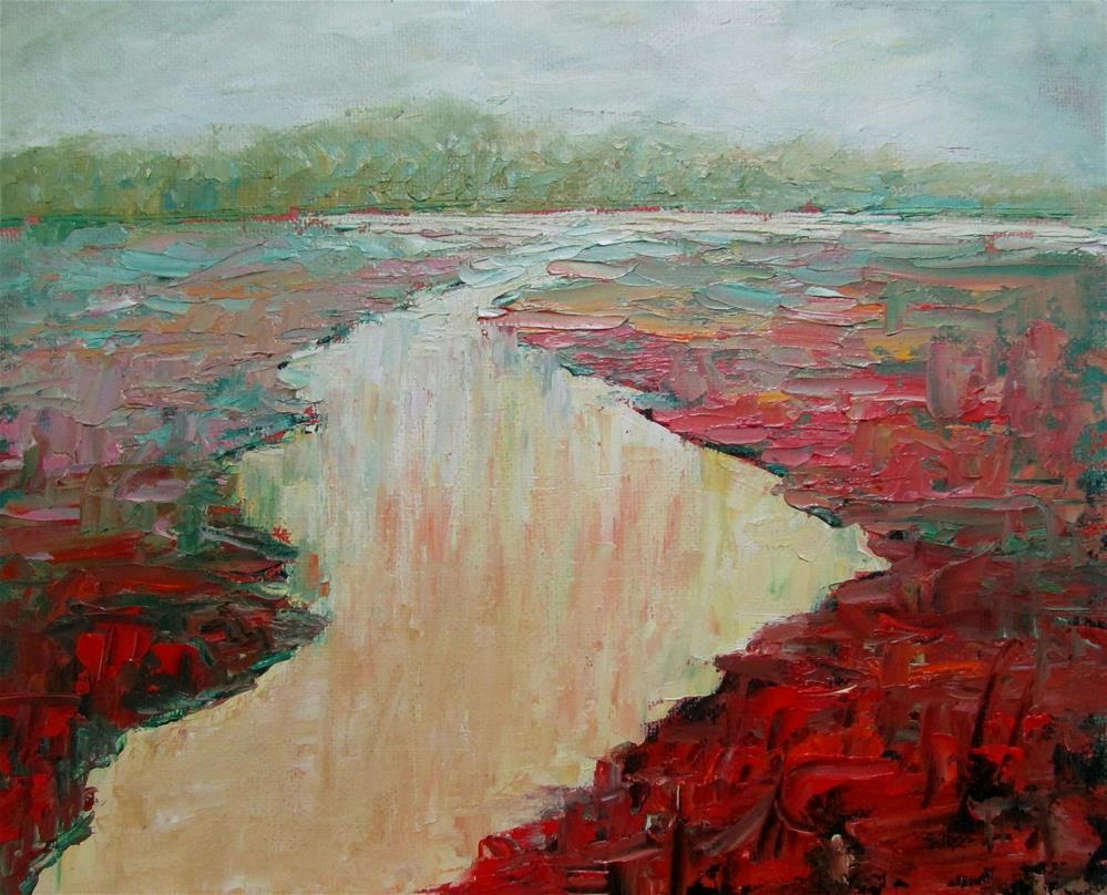 """8 x 10 inch oil Abstracted River"" original fine art by Linda Yurgensen"