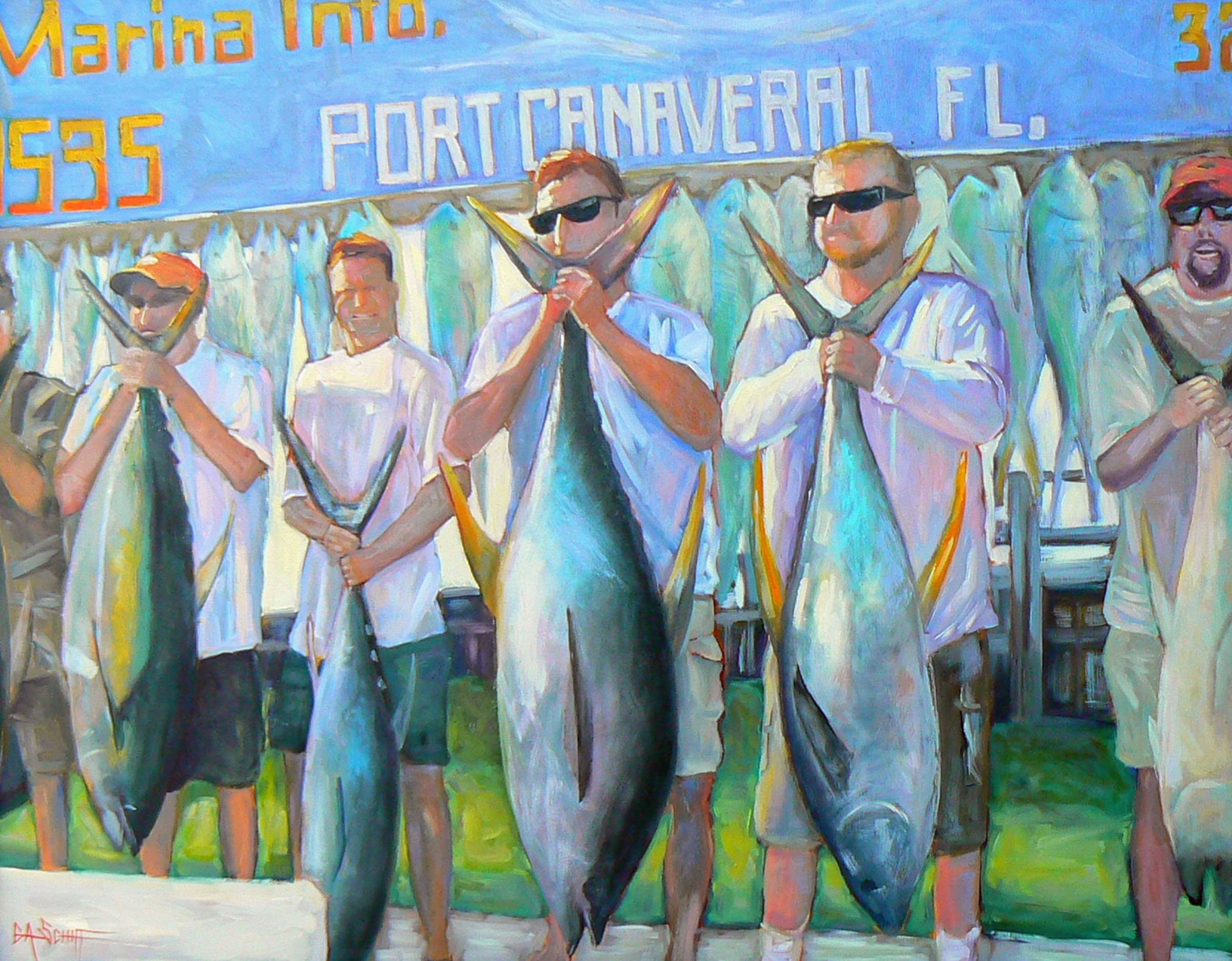 """Big Boys Show and Tell"" original fine art by Carol Schiff"