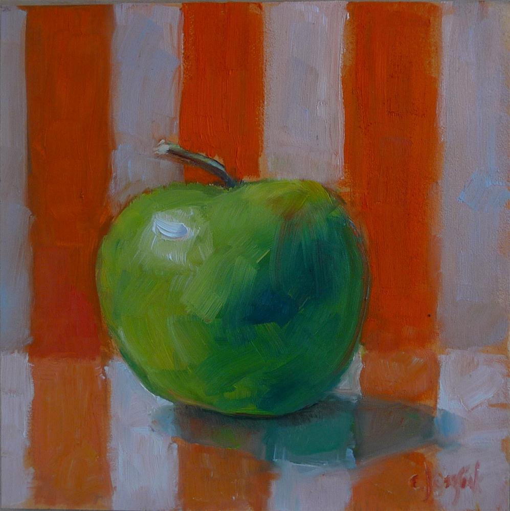"""green apple with orange stripes"" original fine art by Carol Josefiak"
