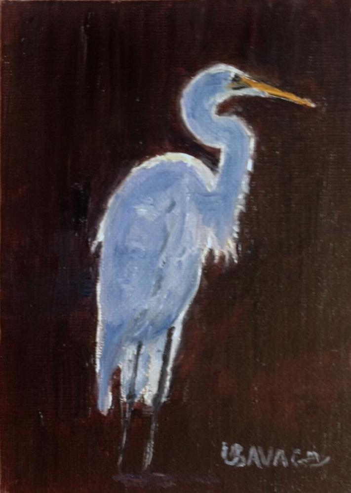 """Egret"" original fine art by Judy Usavage"