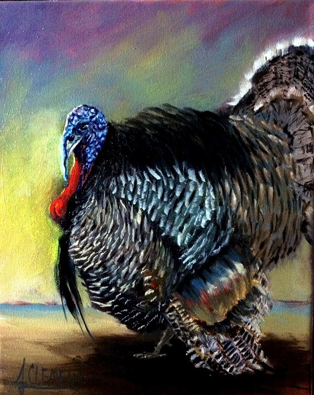 """Turkey Time Parade"" original fine art by Jolynn Clemens"