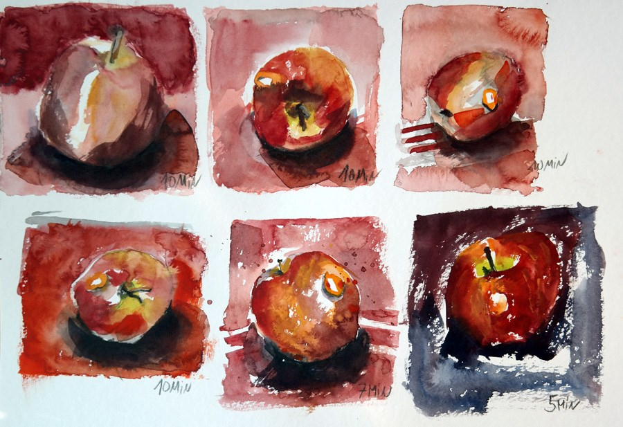 """1312 Apple Exercise"" original fine art by Dietmar Stiller"