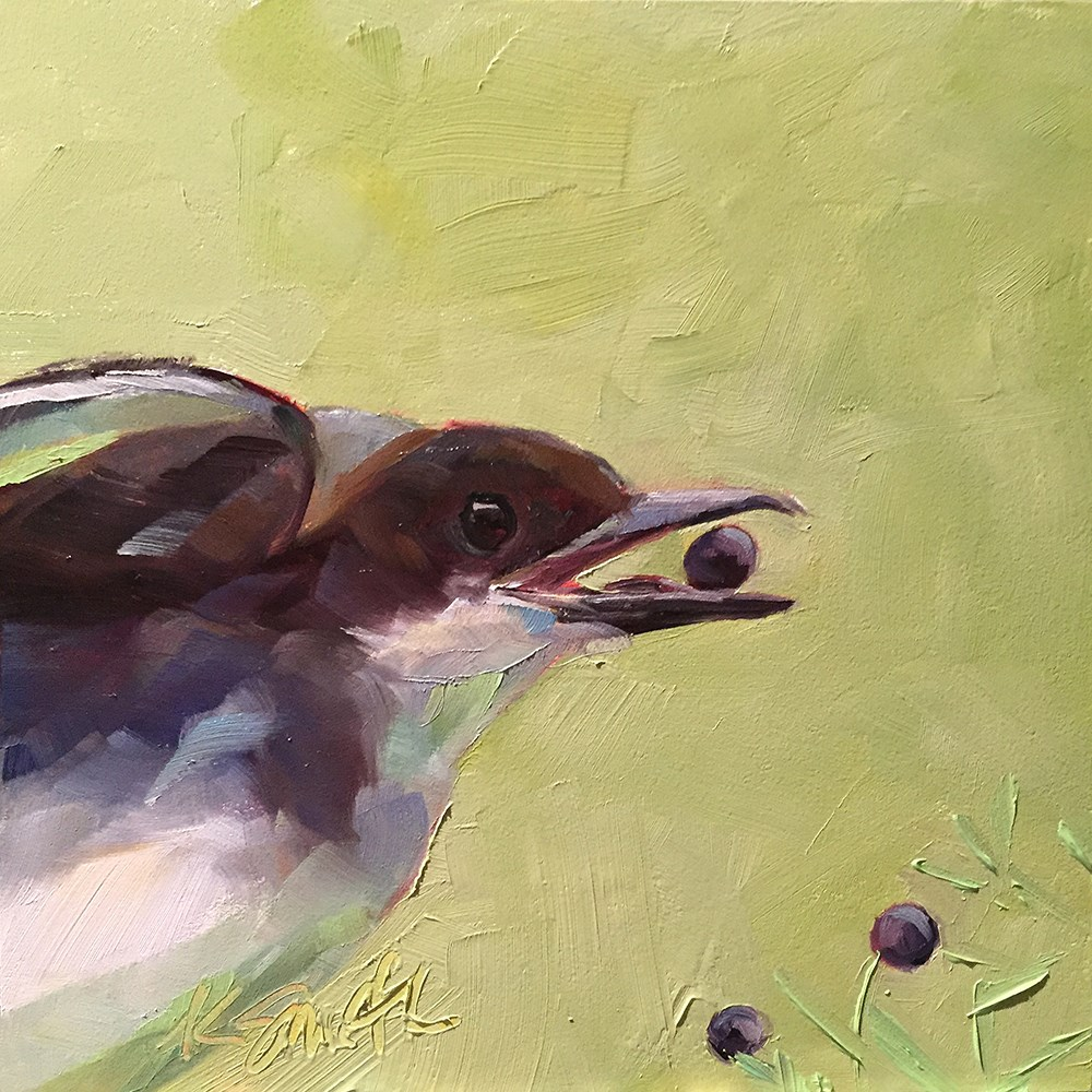 """berry bird"" original fine art by Kim Smith"