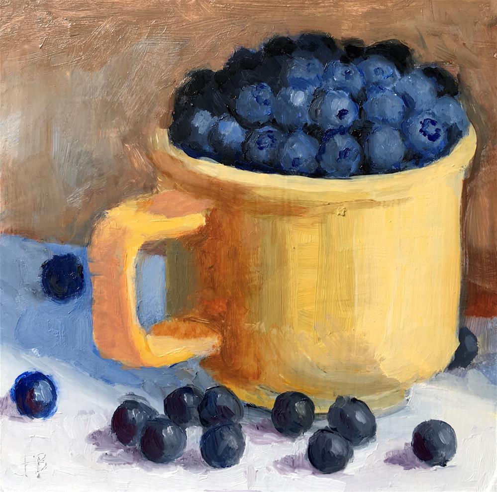 """051 Blueberries In Yellow Cup, Daily Painting Ritual, free shipping"" original fine art by Fred Bell"