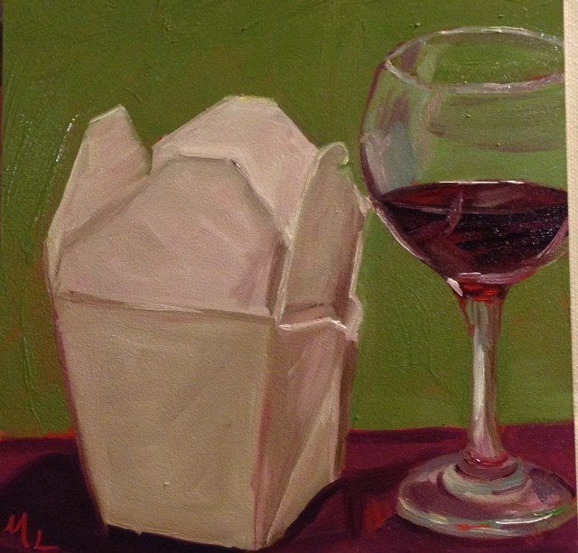 """Wine and Chinese"" original fine art by Marjie Laizure"