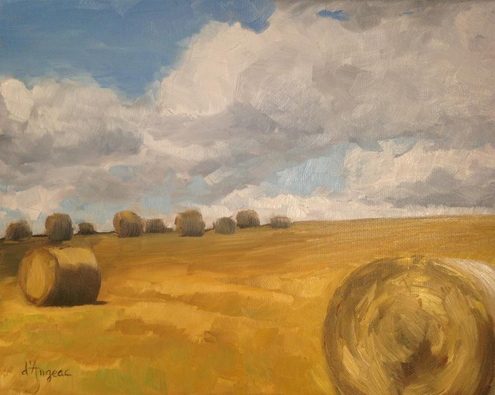 """Bales of Hay"" original fine art by Karen D'angeac Mihm"