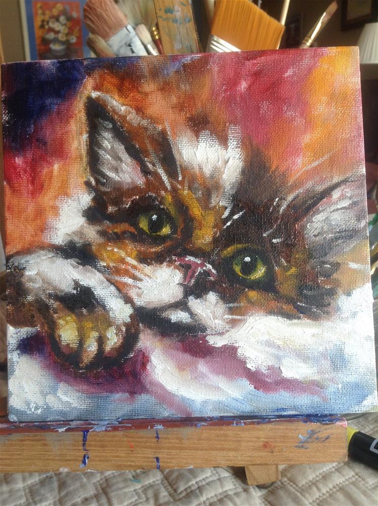 """Gizmo Kitty"" original fine art by Cynthia Buell"