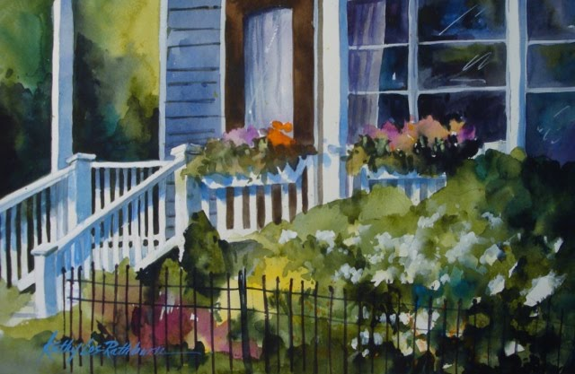 """Summer Porch Shadows"" original fine art by Kathy Los-Rathburn"