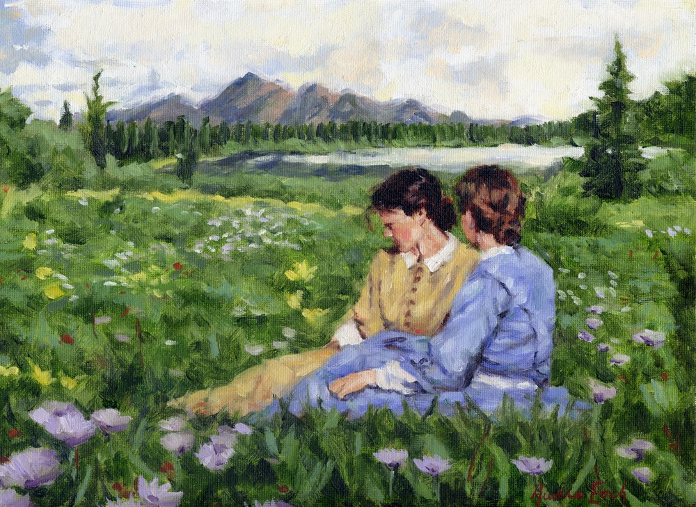 """1850s Girls in a Meadow"" original fine art by Audra Esch"