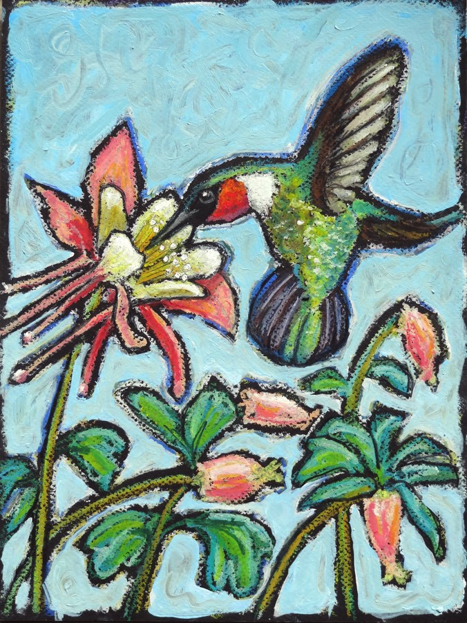 """Rubythroat and Columbines"" original fine art by Ande Hall"