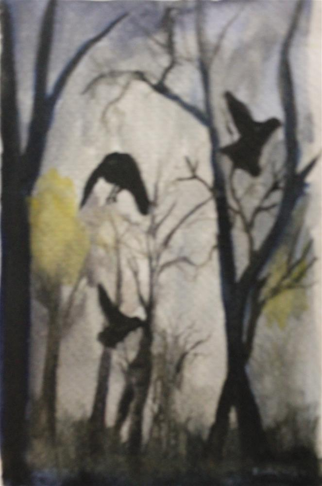 """""""Ravens in forest"""" original fine art by Daniel Varney"""