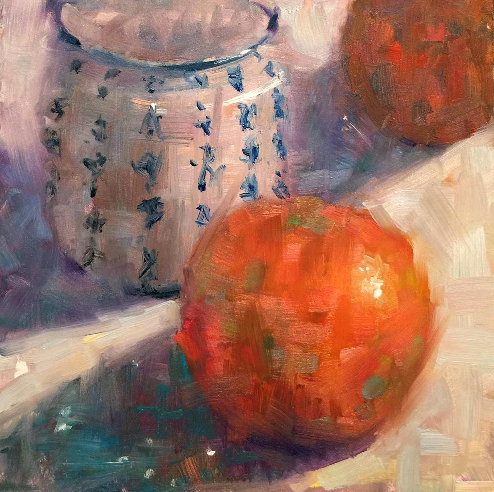 """Chinese Jar and Grapefruits, 8x8"" original fine art by Ann Feldman"