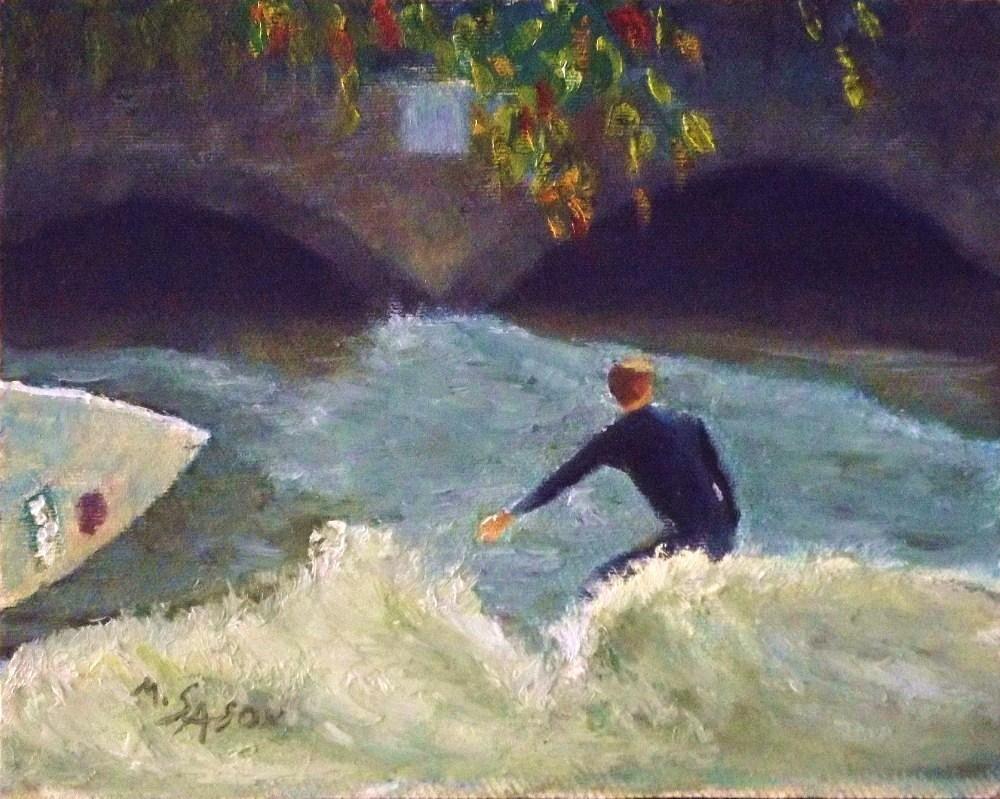 """Munich City Surfer"" original fine art by Michael Sason"