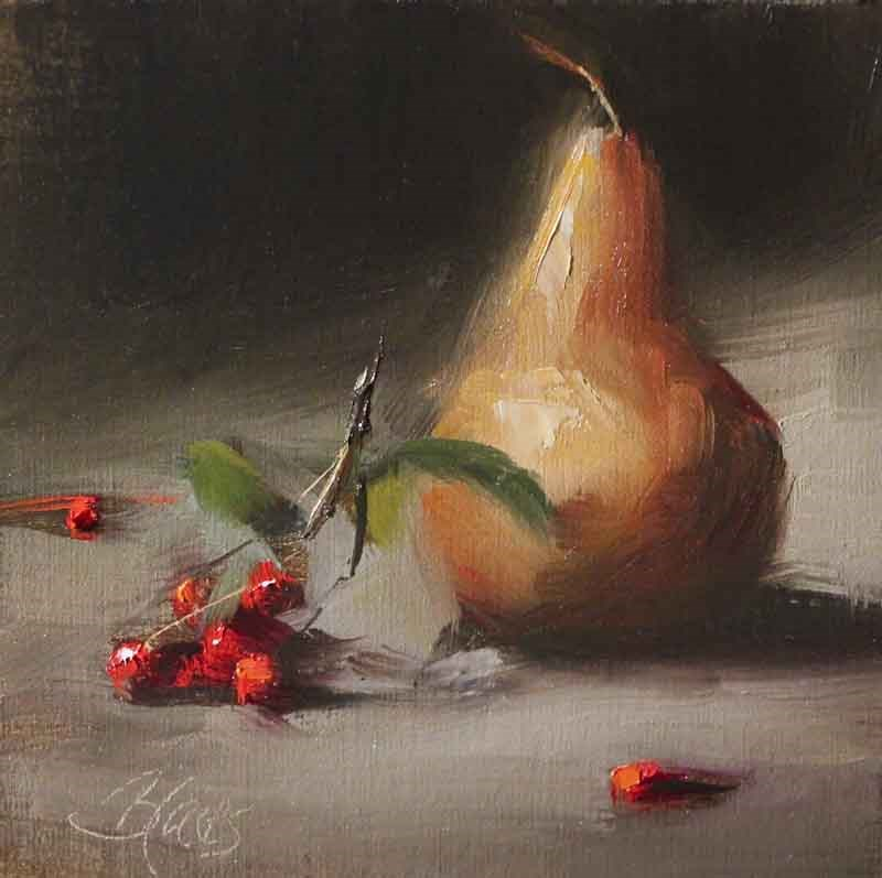 """Golden Pear and Winter Berries"" original fine art by Pamela Blaies"