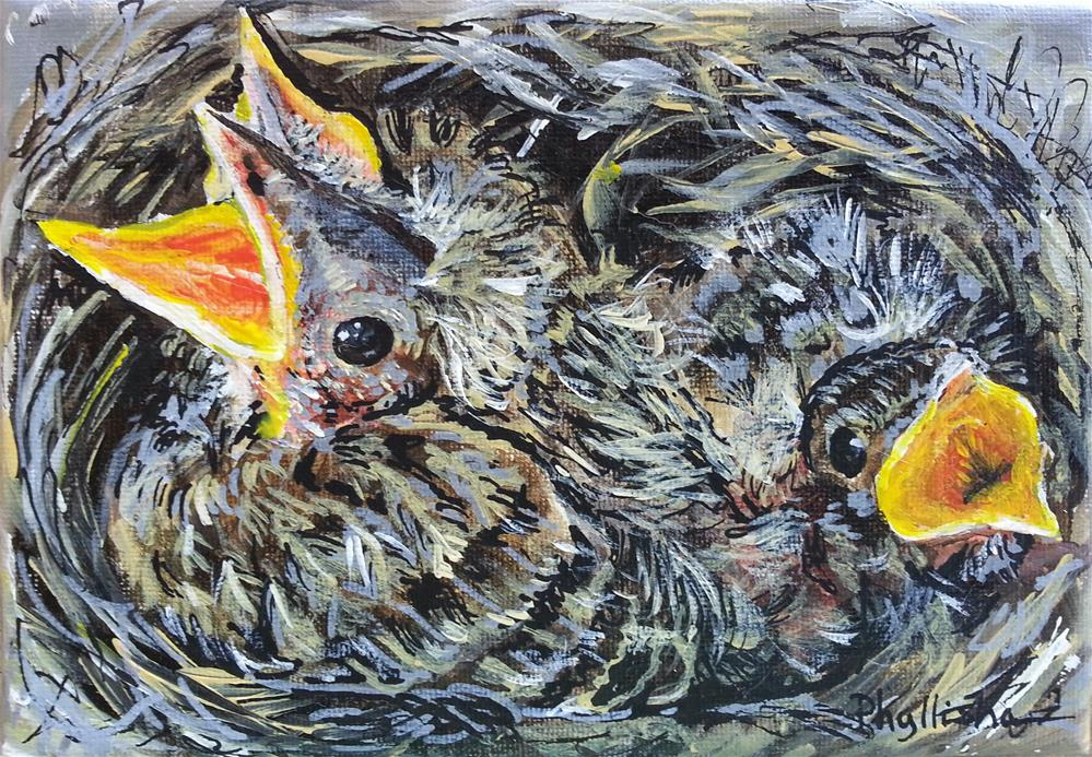 """Baby Robins"" original fine art by Phyllisha Hamrick"