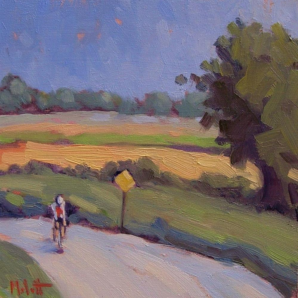 """Touring the Countryside Cycling Contemporary Oil Painting"" original fine art by Heidi Malott"