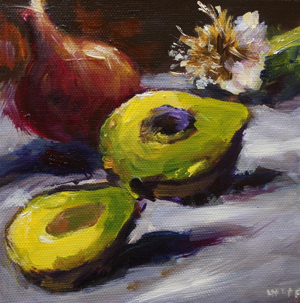 """Original oil avocado kitchen art painting"" original fine art by Alice Harpel"
