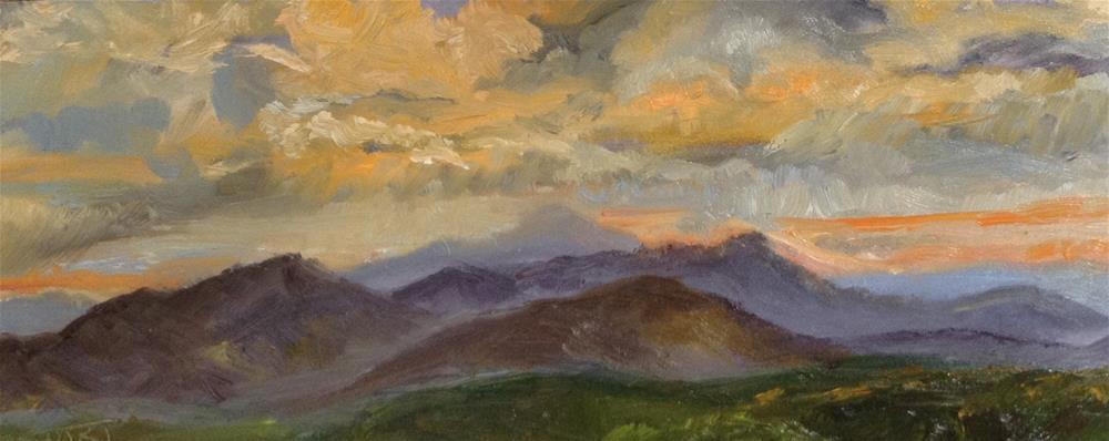 """Mountains at Sunset"" original fine art by Brenda Short"