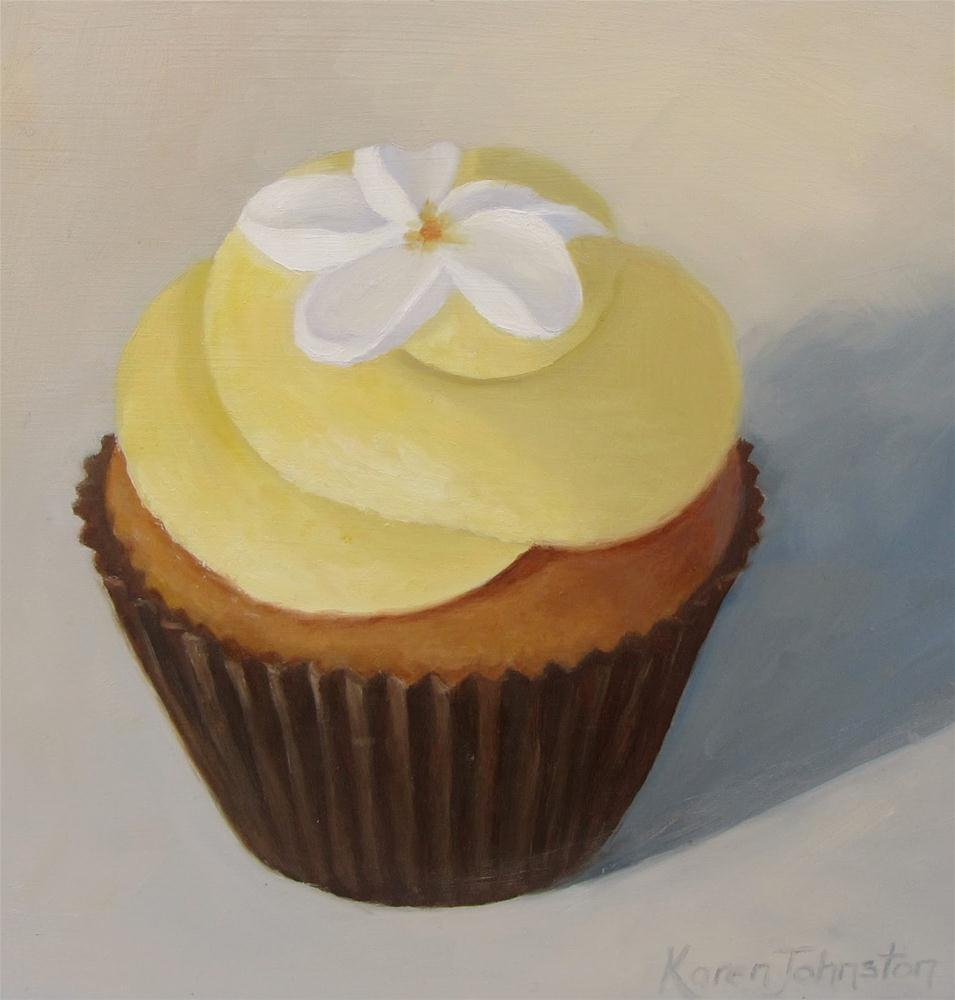 """Banana Cupcake"" original fine art by Karen Johnston"