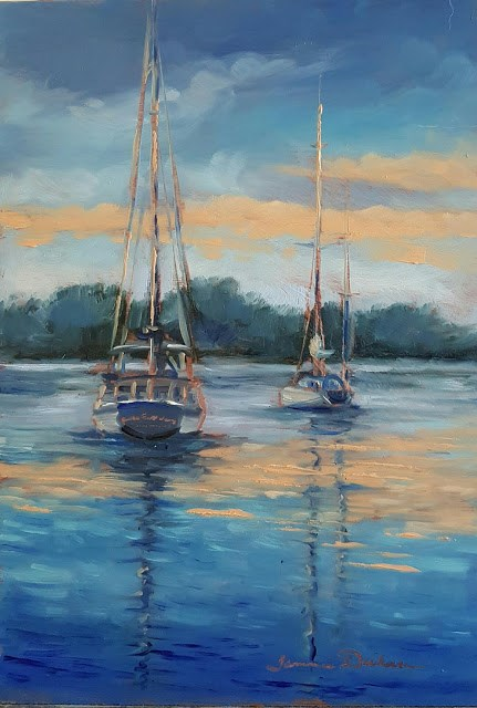"""Sailboats at Sunset"" original fine art by Tammie Dickerson"