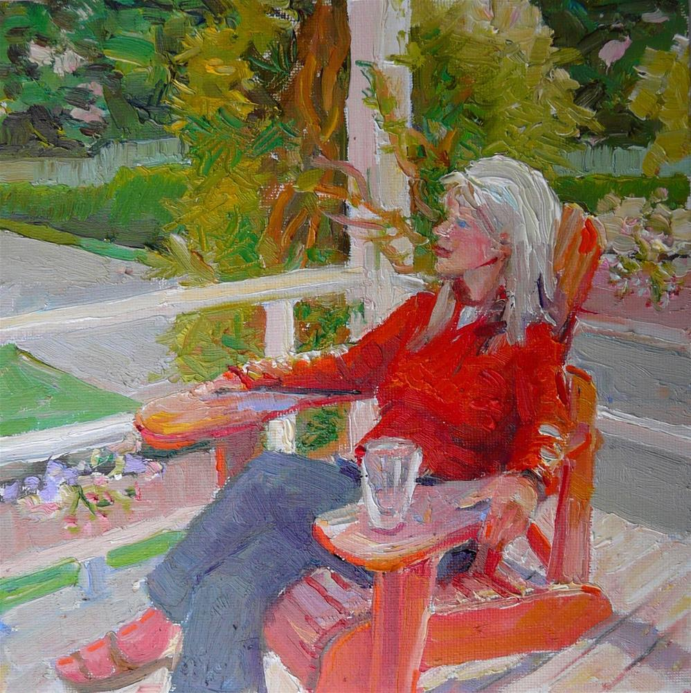 """Porch,figure,oil on canvas,6x6,price$250"" original fine art by Joy Olney"