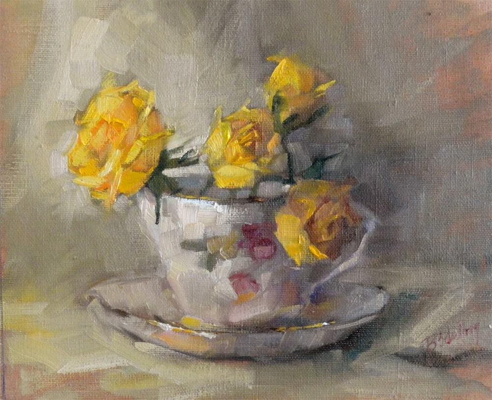 """Teacup-Roses"" original fine art by Barbara Schilling"