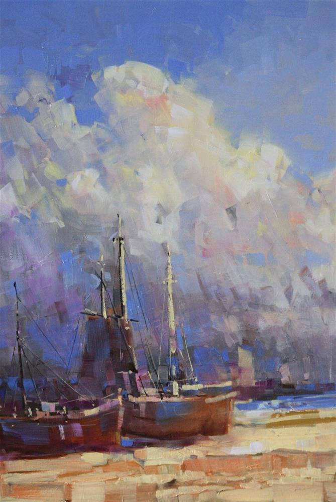 """HARBOR OIL ON CANVAS ONE OF A KIND"" original fine art by V Y"