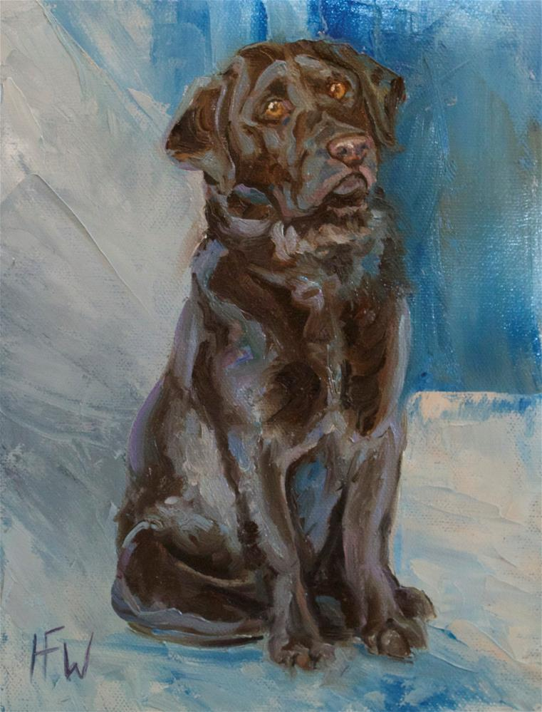 """Chocolate Pup"" original fine art by H.F. Wallen"