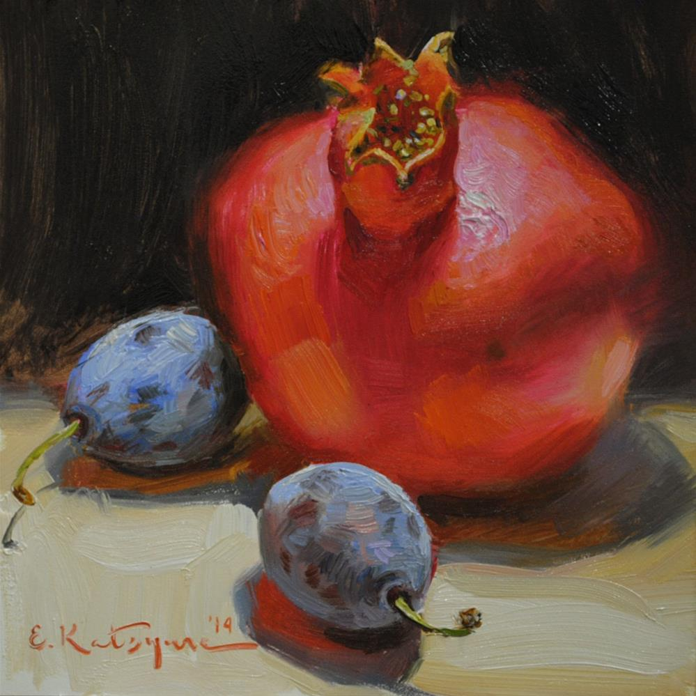 """Pomegranate and Plums"" original fine art by Elena Katsyura"