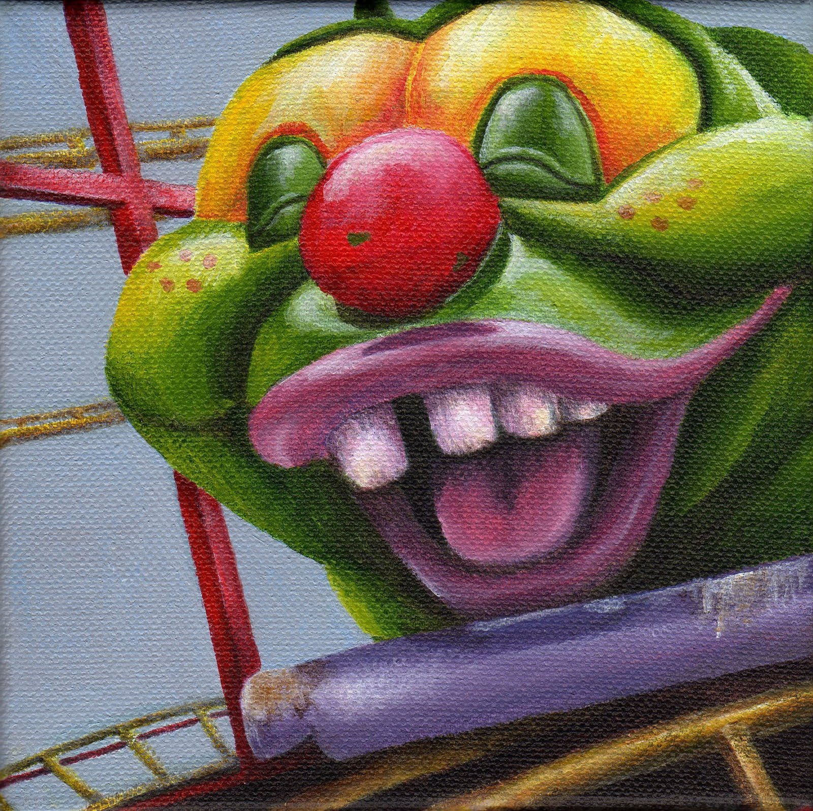 """Caterpillar Coaster"" original fine art by Debbie Shirley"
