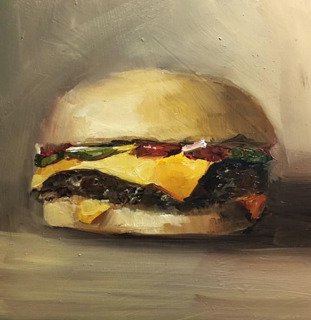 """Cheeseburger"" original fine art by Anne Marie Propst"