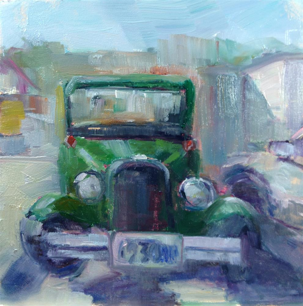 """Atique Green Car"" original fine art by Carol Josefiak"