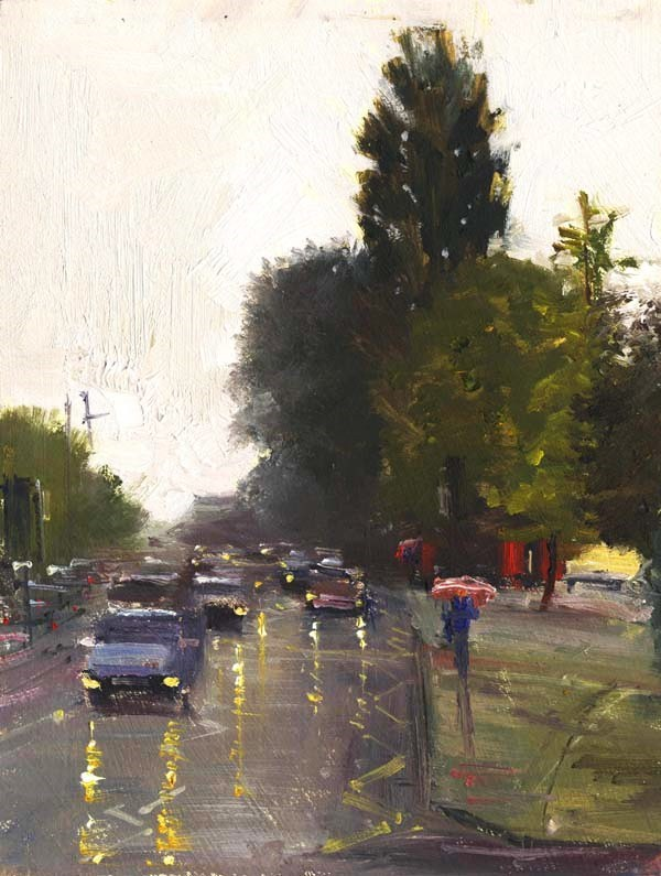 """Reflections on a Rainy Day, London Road, Bath"" original fine art by Adebanji Alade"